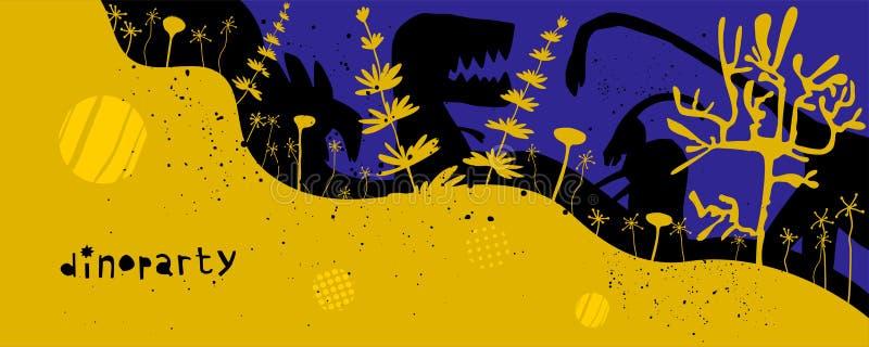 Utdragna dinosaurier för hand och relictväxter med bokstäver Plant tecken för Jurassic reptilar royaltyfri illustrationer