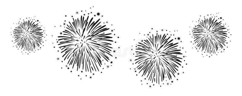 Utdragna fyrverkerier för hand - för materiel vektor illustrationer