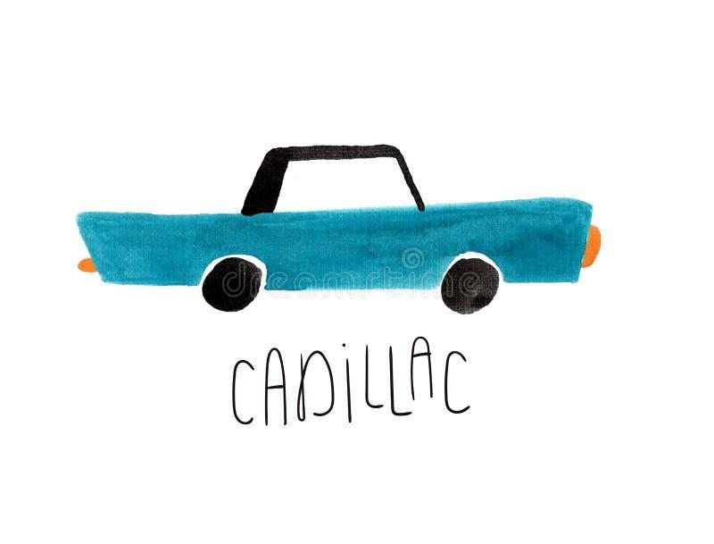 Utdragna gouacheblått Cadillac för hand royaltyfria bilder