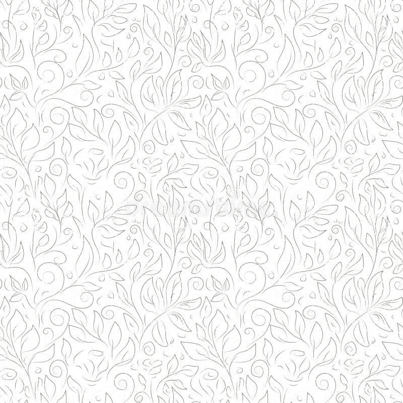Utdragna gråa konturer för hand av abstrakta blommor och sidor på vit bakgrund royaltyfri illustrationer