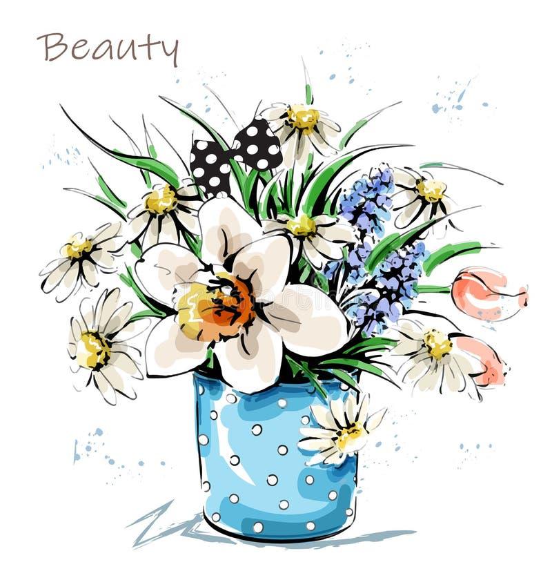 Utdragna härliga blommor för hand i vas Gullig blommabukett skissa royaltyfri illustrationer