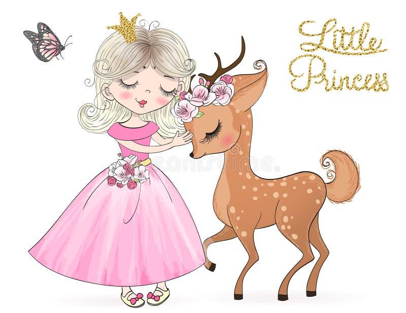 Utdragna härliga gulliga små hjortar för hand med prinsessaflickan vektor illustrationer