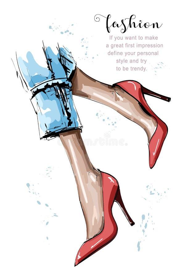 Utdragna härliga kvinnliga ben för hand Röda skor för stilfulla kvinnor skissa royaltyfri illustrationer