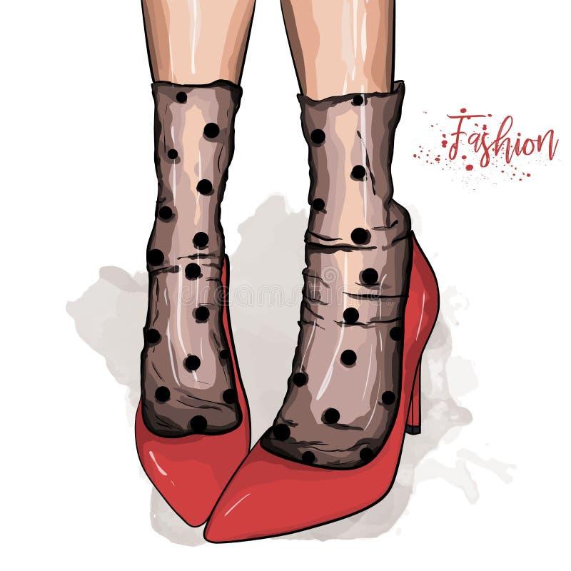 Utdragna h?rliga kvinnliga ben f?r hand R?da skor f?r stilfulla kvinnor Skissa vektorillustrationen royaltyfri illustrationer