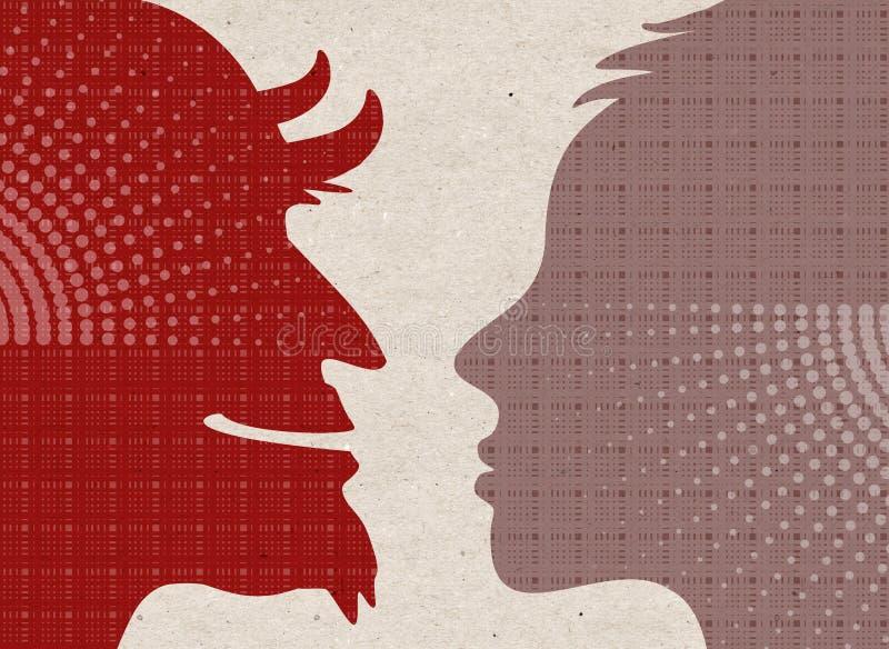 Utdragna konturer för profil - som är mänskliga med jäkel royaltyfri illustrationer