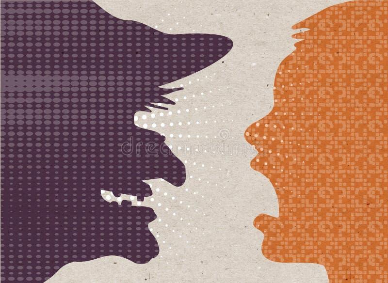 Utdragna konturer för profilen - skrämde mänskligt med häxan royaltyfri illustrationer