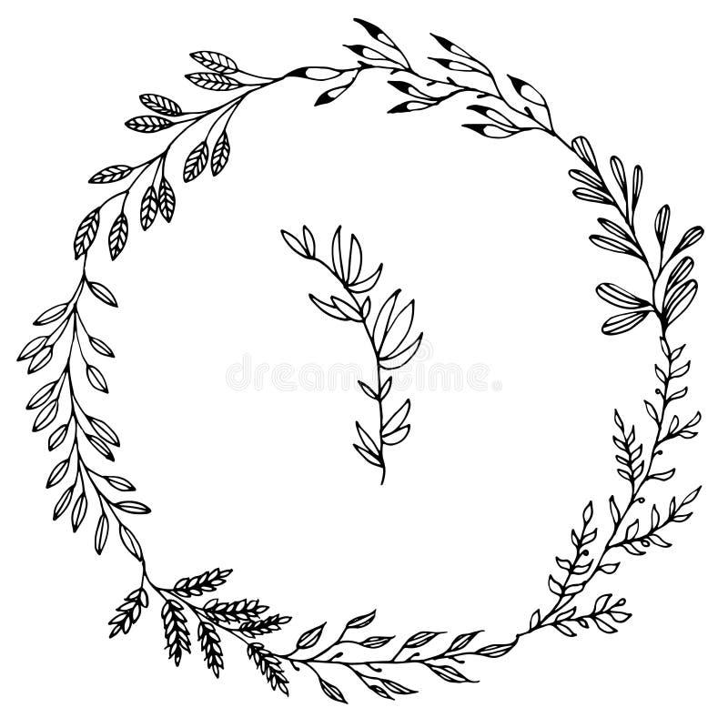 Utdragna rambeståndsdelar för blom- hand på vit bakgrund royaltyfri illustrationer