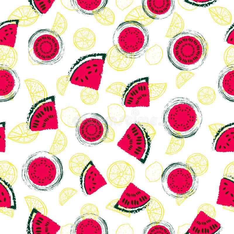 Utdragna retro röda vattenmelonskivor för hand och för modellvektor för gula citroner sömlös bakgrund stock illustrationer