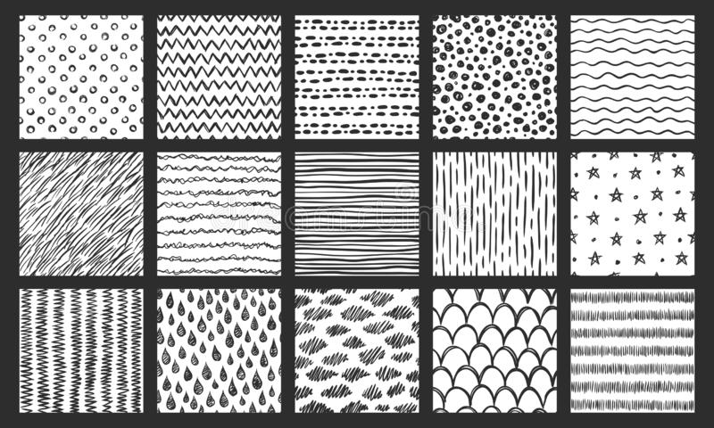 Utdragna sömlösa texturer för hand Skissa modellen, klottra klottertextur och krökta linjer vektormodelluppsättning royaltyfri illustrationer