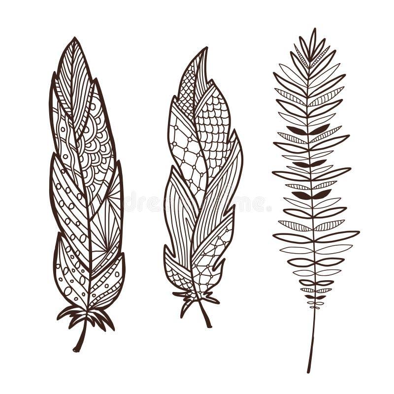 Utdragna stiliserade fjädrar för hand Inre grafiktryck Gullig dekorativ fjäderdesign Beståndsdelar för hälsningkort och vykort stock illustrationer