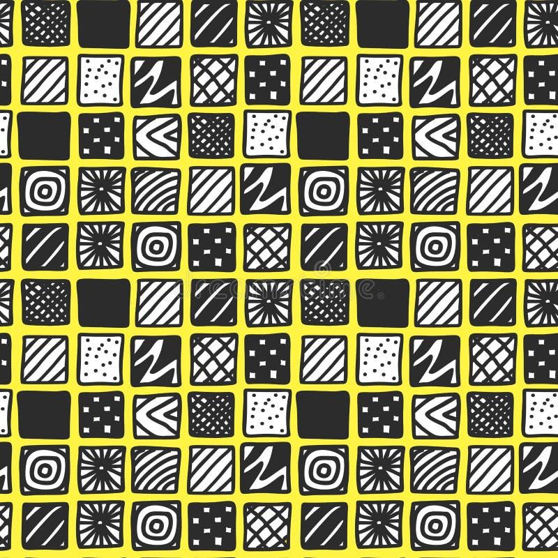Utdragna svartvita mönstrade fyrkanter för hand på gul bakgrund vektor illustrationer