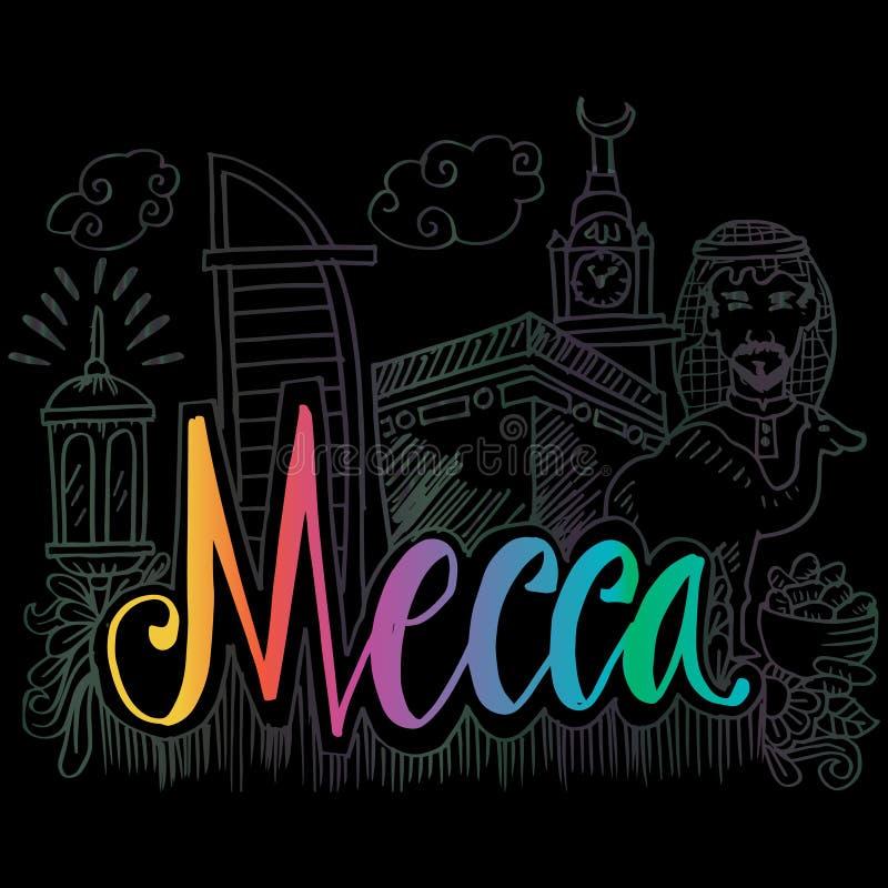 Utdragna symboler för hand av Mecka vektor illustrationer