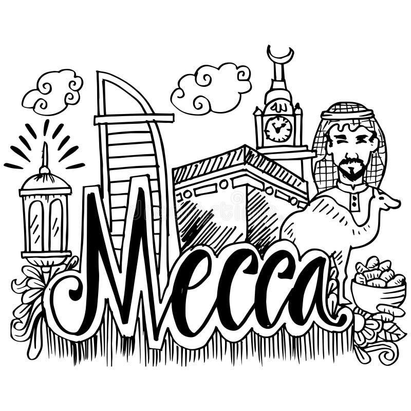 Utdragna symboler för hand av Mecka stock illustrationer