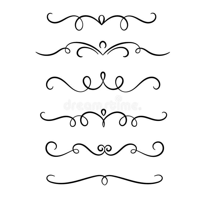 Utdragna symmetriska krusidullvirvlar för hand, textavdelare som gifta sig dekordesignbeståndsdelar royaltyfri illustrationer