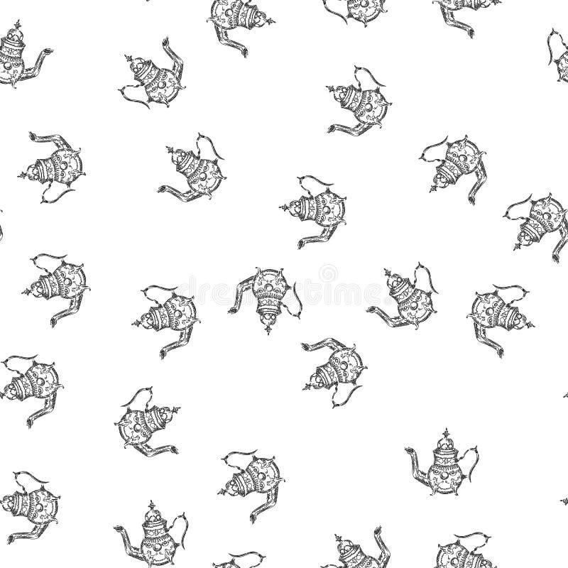 Utdragna tekannor för sömlös retro hand, stor design för några avsikter seamless modell Tekannahand som dras en modell i kinesisk royaltyfri illustrationer