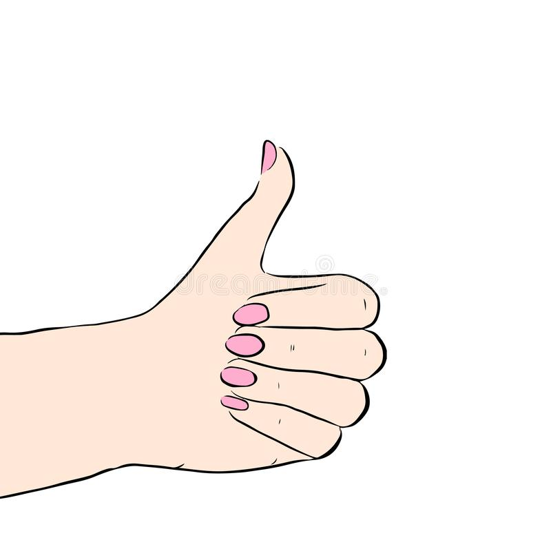 Utdragna tummar för hand som isoleras upp stock illustrationer