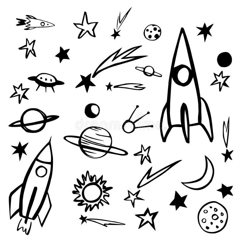 Utdragna utrymmeobjekt för hand Planeter komet, raket Vektorn skissar illustrationen royaltyfri illustrationer
