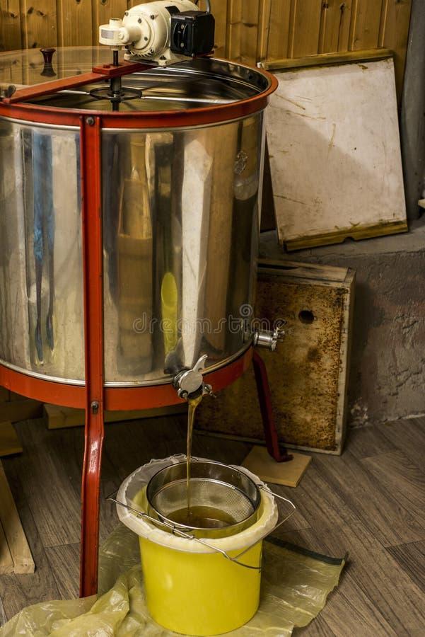 Utdragning av honung, honung som flödar ut ur centrifugen in i en sikt som hänger i en hink royaltyfri bild