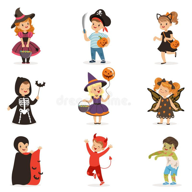 ute little kids in colorful halloween costumes set, Halloween children trick or treating vector Illustrations royalty free illustration