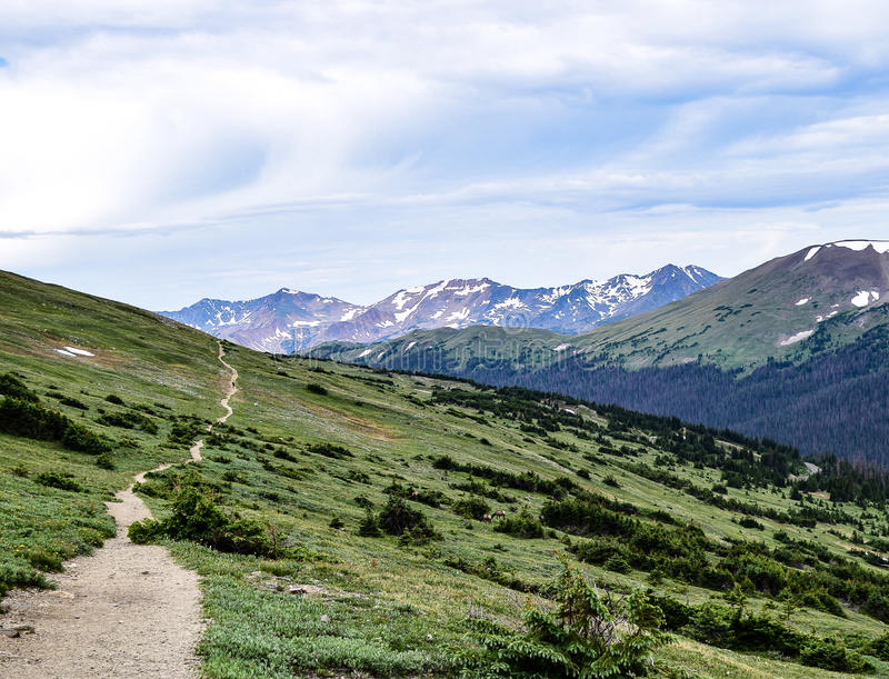 Ute Trail Beckons Hikers in Rocky Mountain National Park. The Ute Trail begins just south of the Alpine Visitor Center in Rocky Mountain National Park royalty free stock photo
