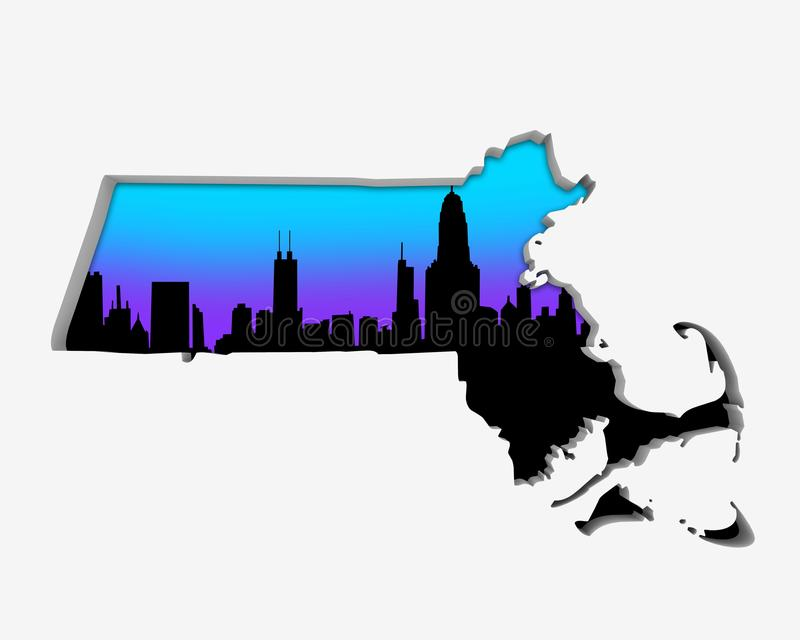 Uteliv 3d för storstadsområde för stad för Massachusetts MORhorisont dåligt vektor illustrationer