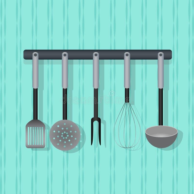 Utensílio liso do vetor, kitchenware na parede ilustração stock