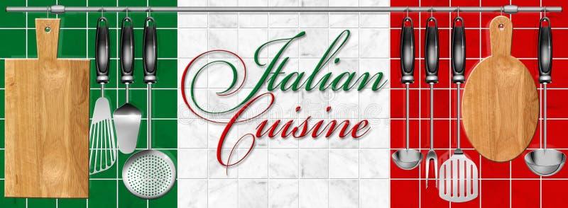 Utensílios ajustados da cozinha da culinária italiana ilustração royalty free
