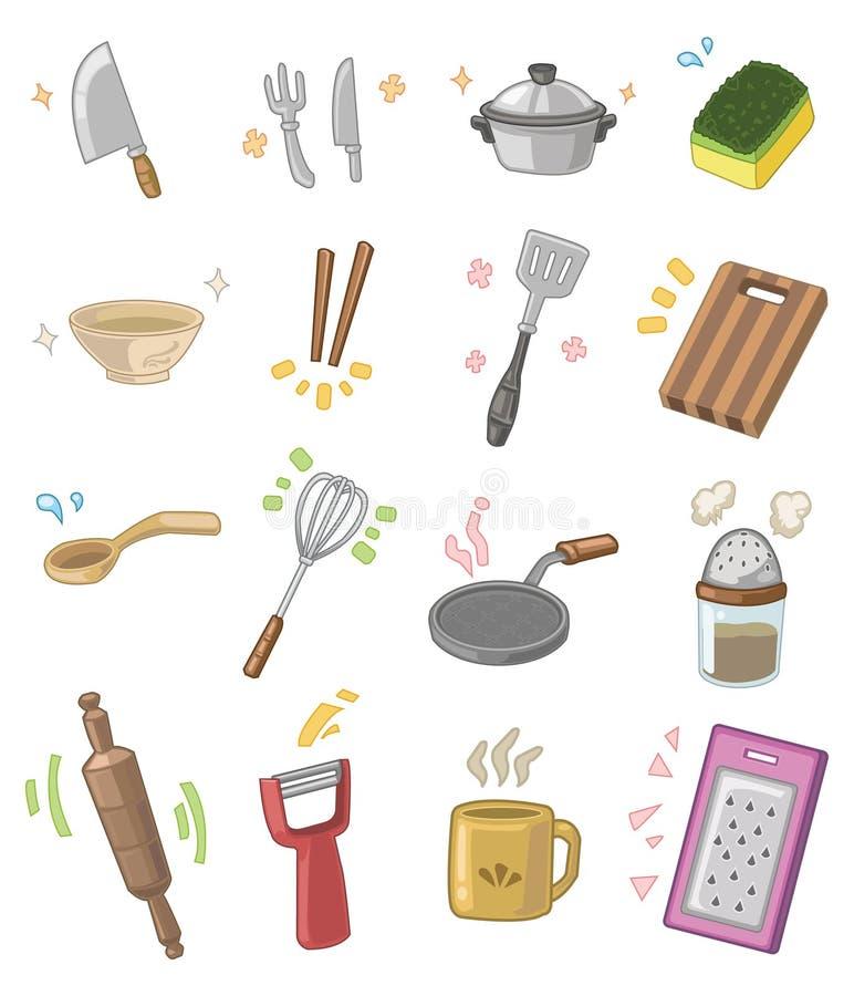 Utensílios da cozinha dos desenhos animados ilustração royalty free