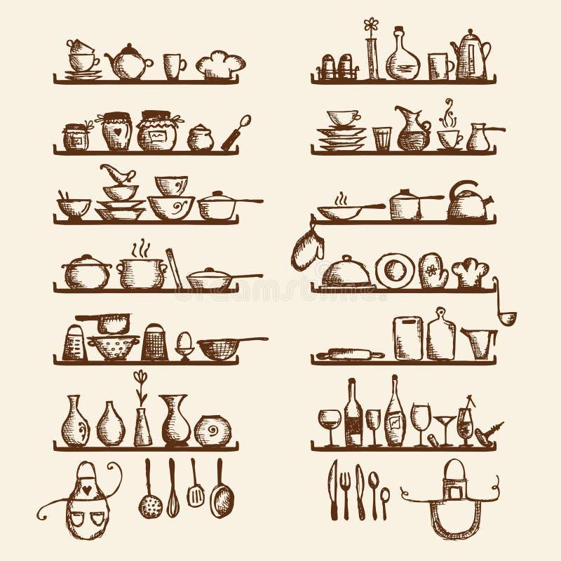 Utensílios da cozinha em prateleiras, desenho de esboço ilustração stock