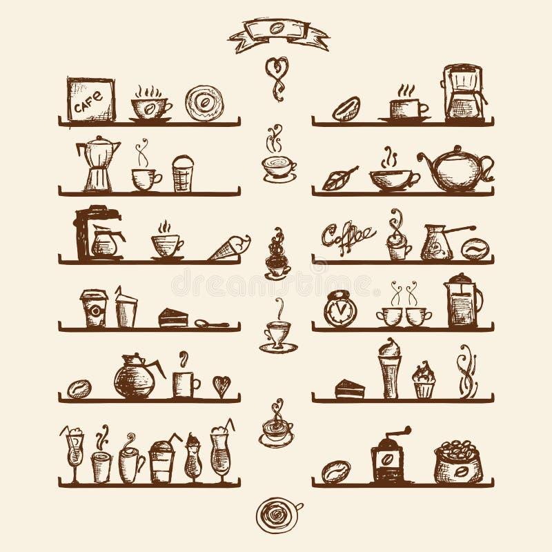 Utensílios da cozinha em prateleiras para a casa de café ilustração royalty free