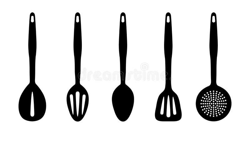 Utensílios da cozinha - grupo da silhueta do vetor - isolados no fundo branco ilustração do vetor
