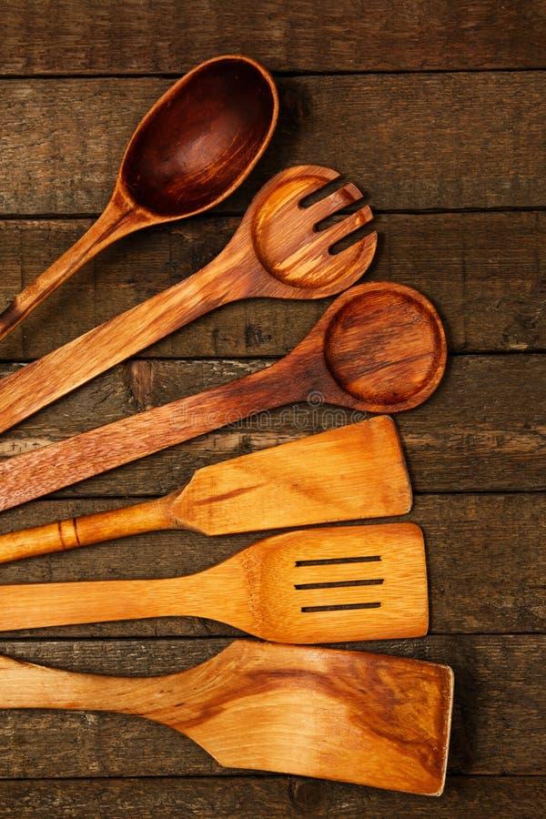 Utensílios de madeira da cozinha imagem de stock royalty free