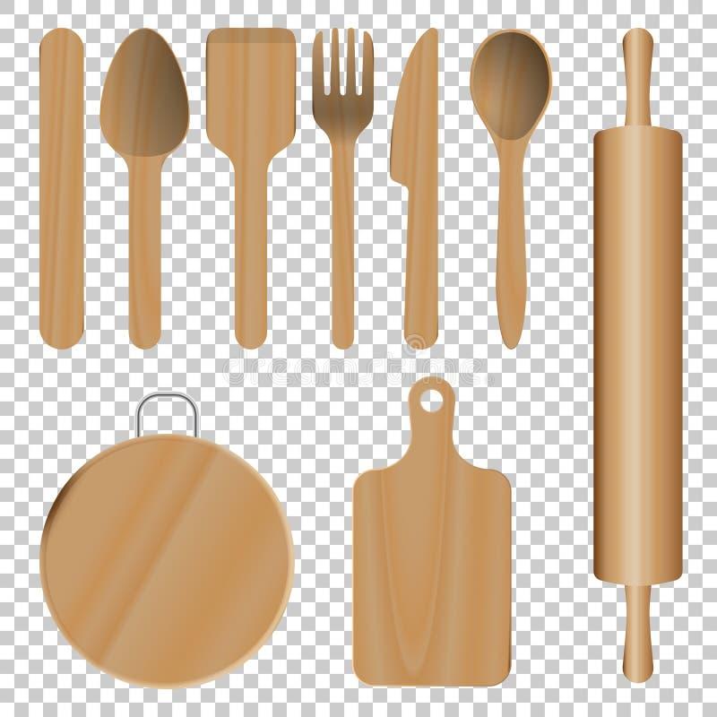 Utensílios de madeira da cozinha ilustração royalty free