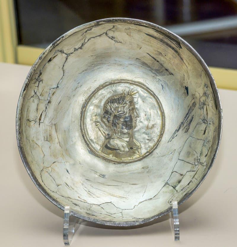 Utensílios do culto vial Prata do século I do ANÚNCIO, dourando fotografia de stock