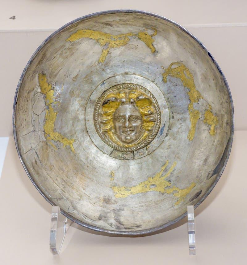 Utensílios do culto vial Prata do século I do ANÚNCIO, dourando foto de stock royalty free