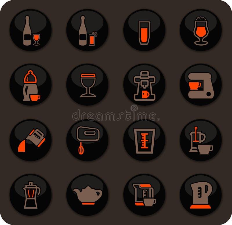 Utensílios para a preparação de ícones das bebidas ilustração stock