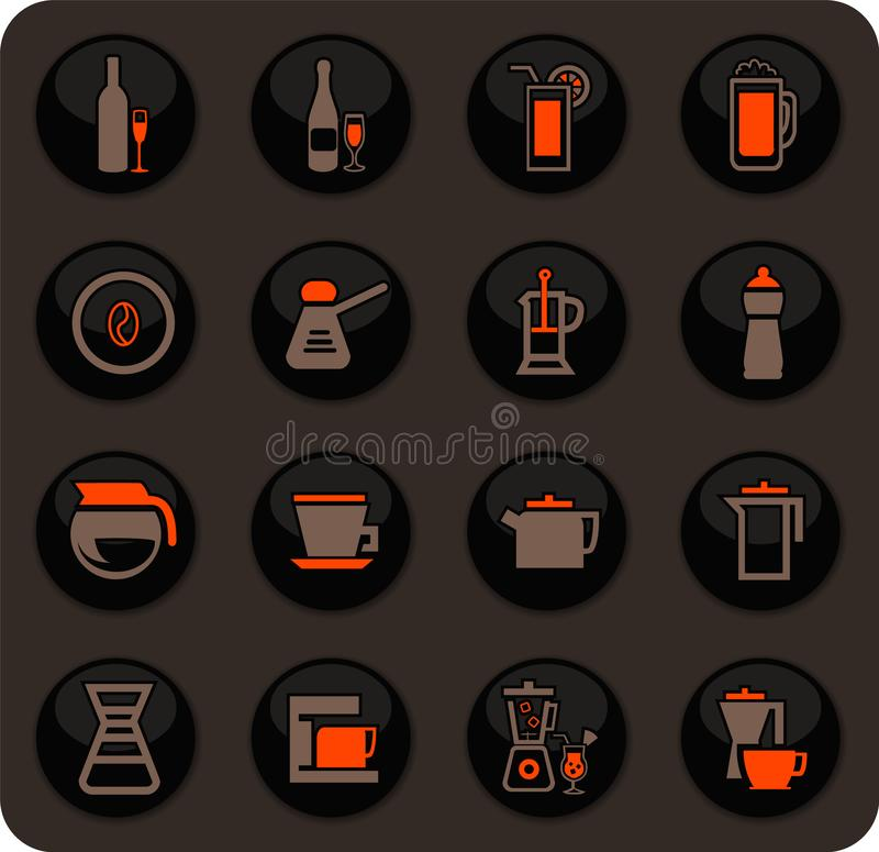 Utensílios para a preparação de ícones das bebidas ilustração royalty free