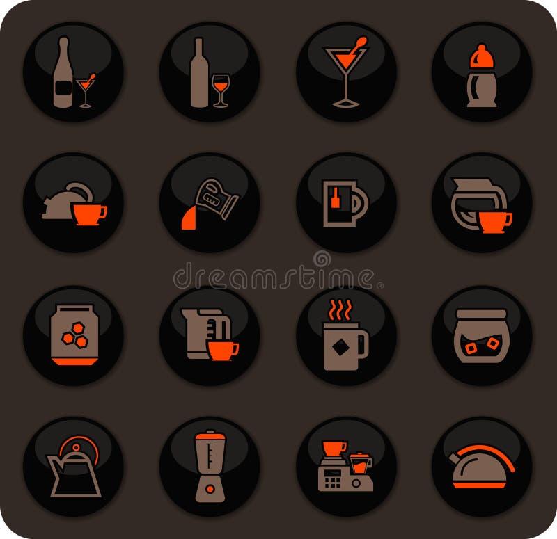 Utensílios para a preparação de ícones das bebidas ilustração do vetor
