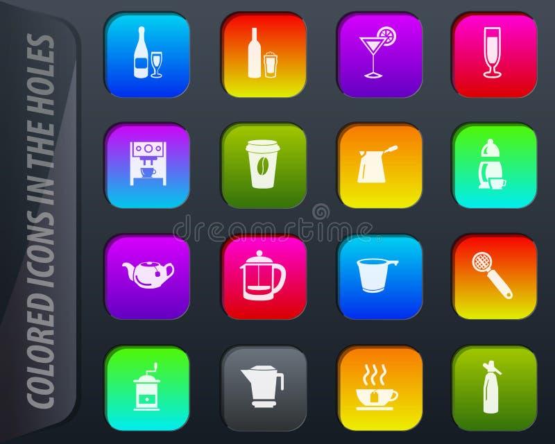 Utensílios para a preparação do grupo dos ícones das bebidas ilustração royalty free