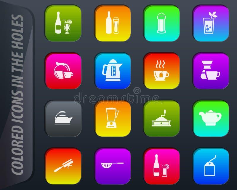 Utensílios para a preparação do grupo dos ícones das bebidas ilustração do vetor