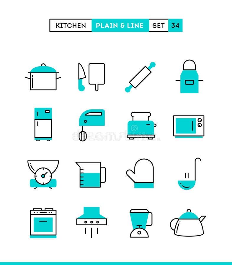 Utensílios, preparação dos alimentos e mais da cozinha ilustração stock