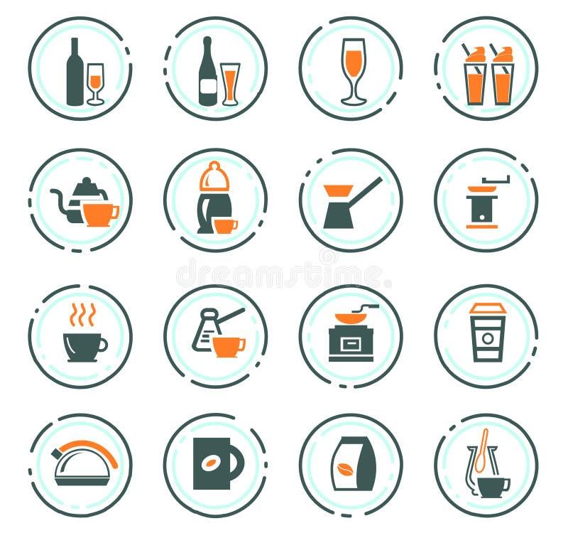 Utens?lios para a prepara??o de ?cones das bebidas ilustração stock