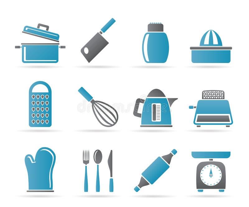 utensil för hushållsymbolskök stock illustrationer