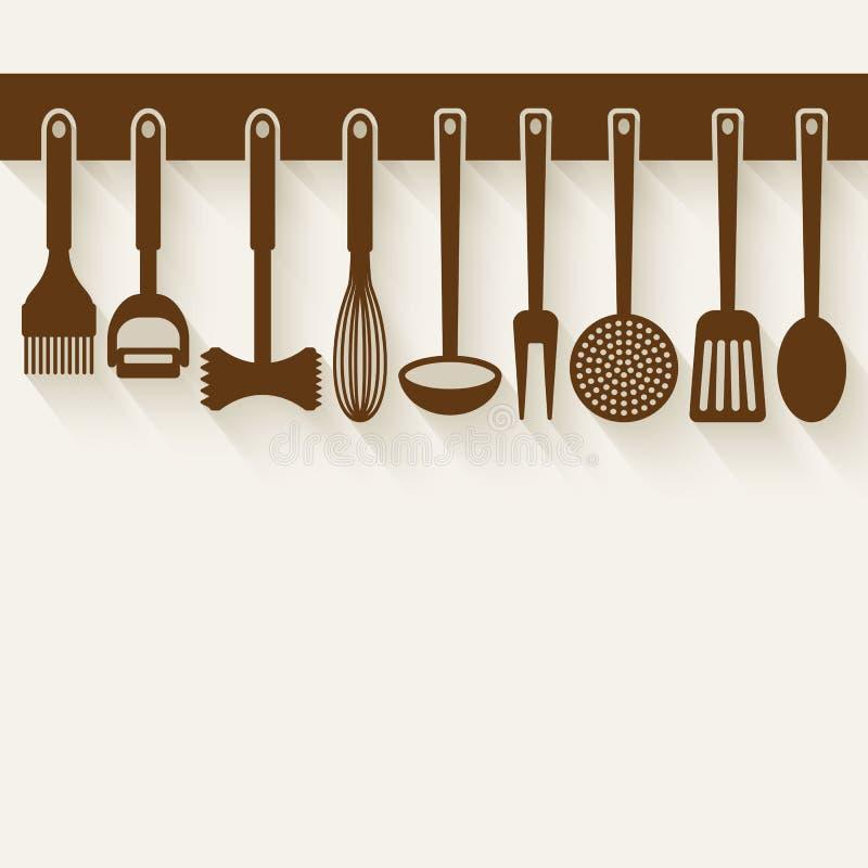 utensilen för tenderizeren för meat för kök för brädet viftar ägget isolerade liggande set white vektor illustrationer