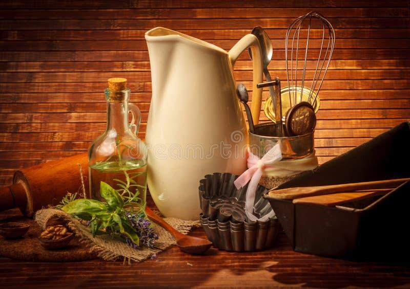 Utensili di cottura della cucina del Od fotografie stock libere da diritti