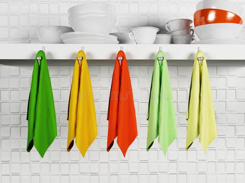 Utensili differenti della cucina su uno scaffale illustrazione di stock