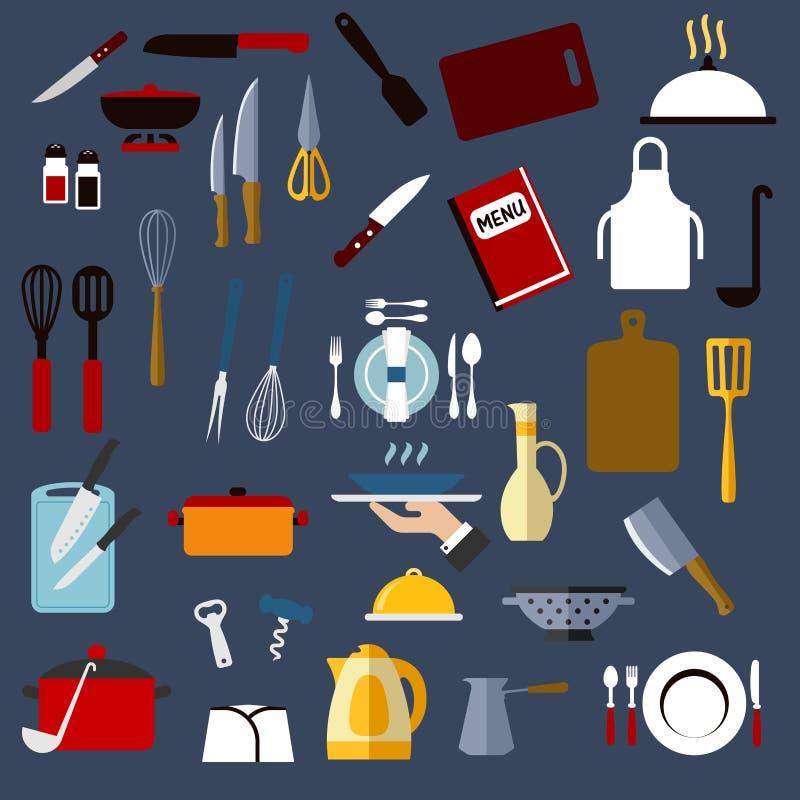 Utensilio de la cocina e iconos planos del dishware libre illustration
