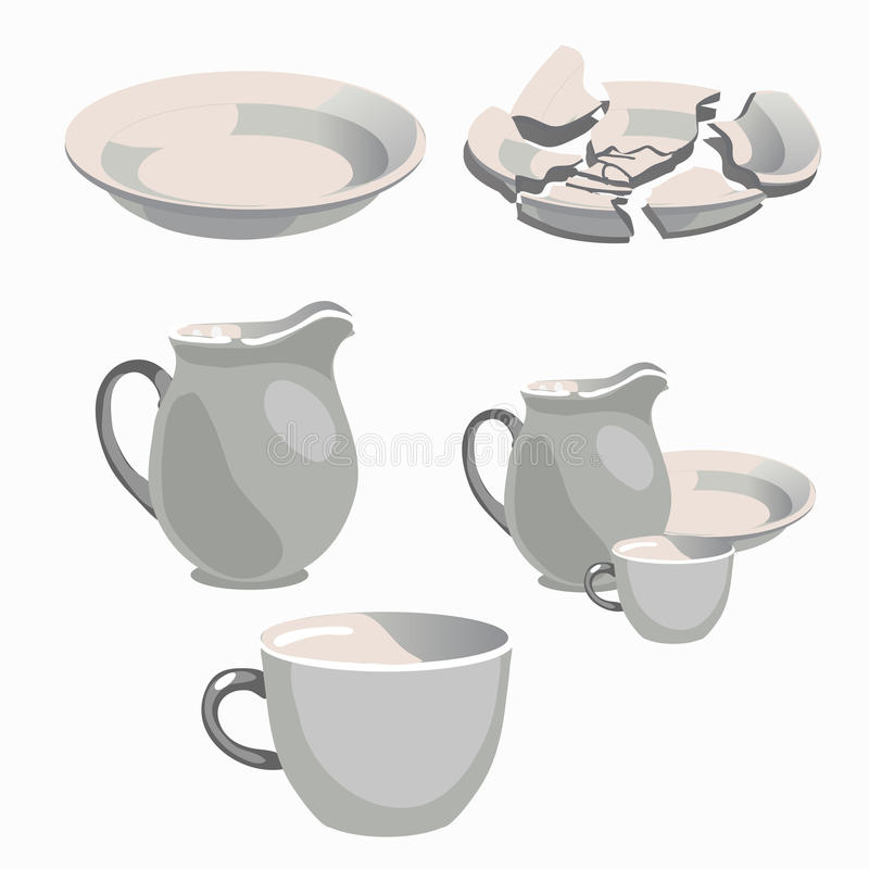 Utensilios blancos de la cocina de la porcelana y placa quebrada stock de ilustración