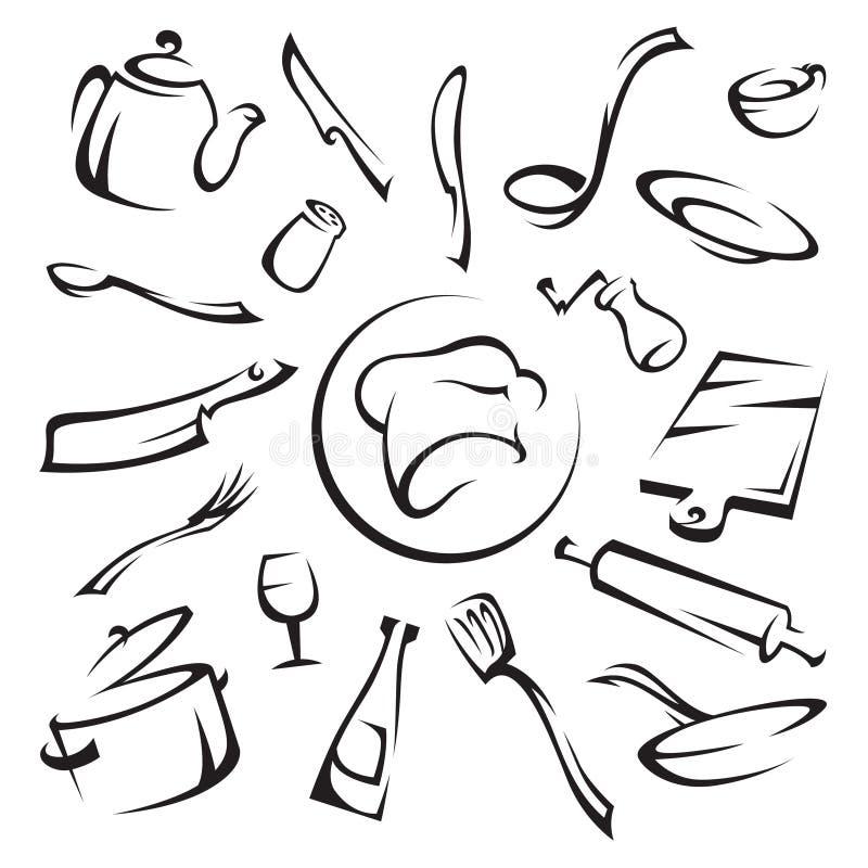 Utensilios de cocina ilustración del vector