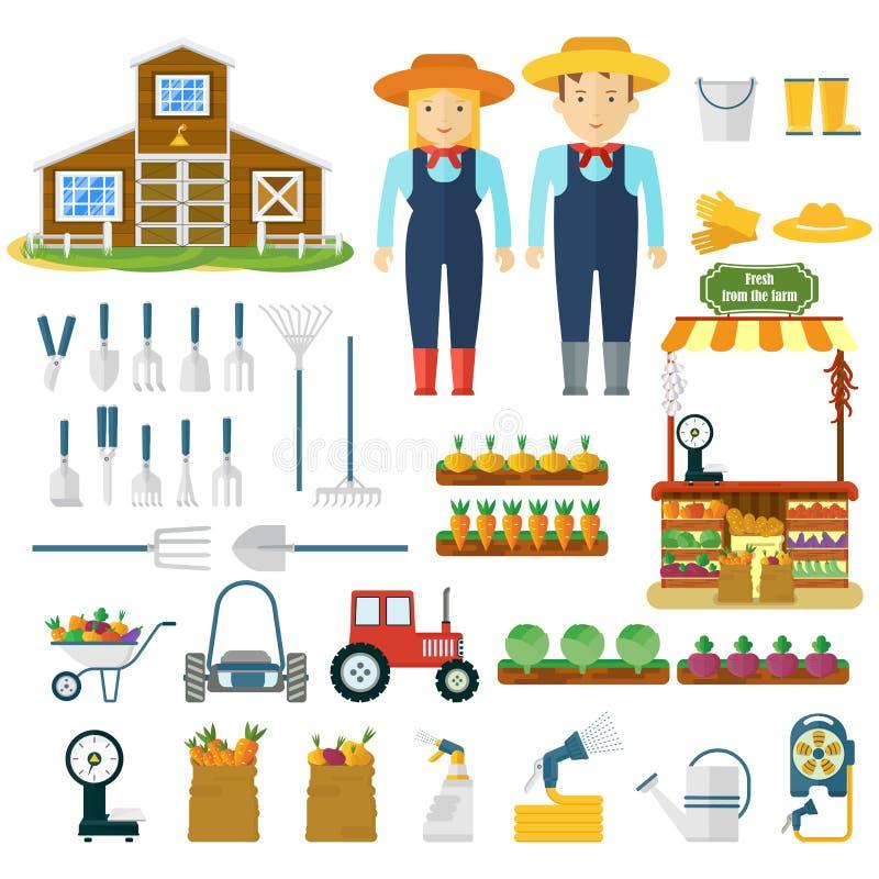 Utensilios de jardinería, maquinaria para cosechar y carácter de los granjeros libre illustration